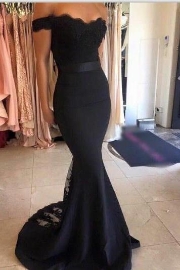 Off Shoulder Mermaid Evening Dress with Lace Overlay